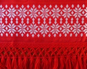 Vintage red curtain/ valance woven mid century christmas