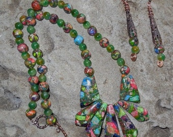 Sea sediment MULTI COLOR necklace and earring set