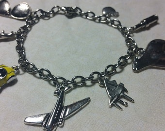 Basic Cabin Pressure Inspired Silver Charm Bracelet- Charms Only