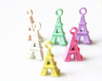 12 pcs of 6 colors of Eiffel charm 15mm tall-1941