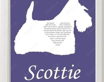 Personalized Scottie Silhouette Love Poem Scottie Rainbow Bridge Pet Memorial 8 X 10 Print Scottie Dog Memorial