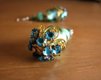 Handmade Earrings Blue Teal Stones Faux Gold Faux Silver Dangle Jewelry