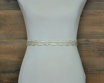 SARAH Wedding Sash, Bridal Sash, Crystal Rhinestone Sash, Wedding Belt, Bridal Belt, Wedding Dress Sash Belt, Jeweled Beaded Sash
