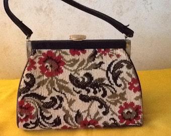 Vintage Carpetbag,Tapestry Purse, Handbag ,Small