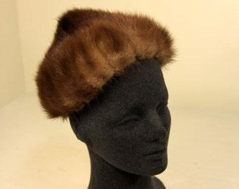 Vintage Mink Fur Pointy Pixie Hat Gimbels Mid-Century Fashion