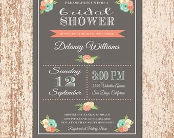 Chalkboard Bridal Shower Invitation, Wedding Shower Invitation, Baby Shower Invite, Printable Invite, Coral Aqua Flowers - Delaney