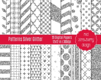75% OFF Sale - Silver Glitter Patterns - 20 Digital Papers - Instant Download - JPG 12x12 (DP172)