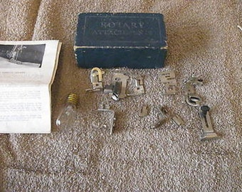 Vintage Greist Sewing Machine Rotary Attachments Set 9 w/Box Bulb Book CL15-24