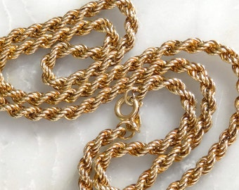 """Gold Necklace -9k All Gold Thick Rope Necklace -16"""""""