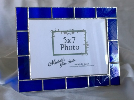 5x7 cobalt blue stained glass picture frame made to order