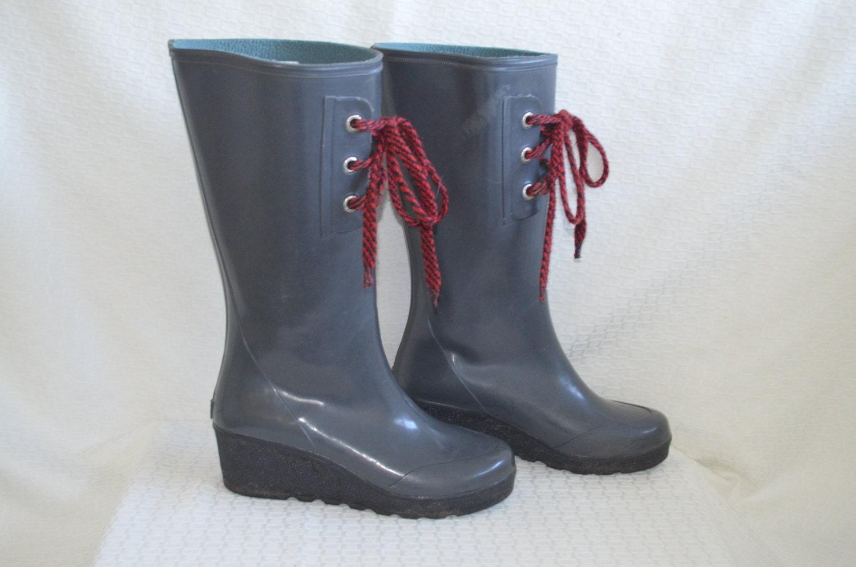 gunmetal grey sperry top siders wedge boots
