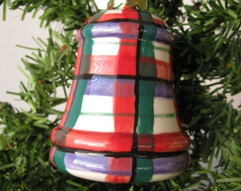 Bell Shape Christmas Ornament Ceramic Hand Painted Glaze Plaid Design Red Green Purple Black