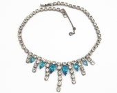 Vintage Clear and Aqua Blue Rhinestone Necklace  Blue Crystal Rhinestone Aqua Bridal Choker with Safety Chain Wedding Necklace