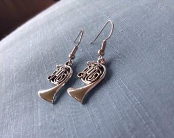 Silver French horn earrings