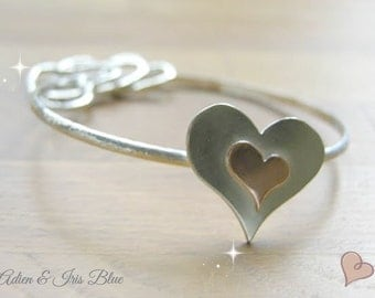 Heart Bracelet Sterling Silver, Silver Bangle, Gift Idea for Her