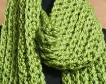 Green Chunky Scarf Crocheted with Wool Blend Yarn - Womens Scarf - Winter Scarf - Chunky Scarf - Crochet Scarf - Ribbed Scarf - Accessories