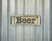 Beer Sign - Pallet Wood Hand Painted Sign -  Reclaimed Wood Sign