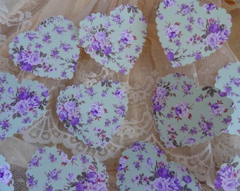 Lightest Green and Lavender Floral Heart Die cuts Set of 10