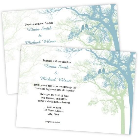 Wedding Invitation Love Birds In A Tree DIY Printable