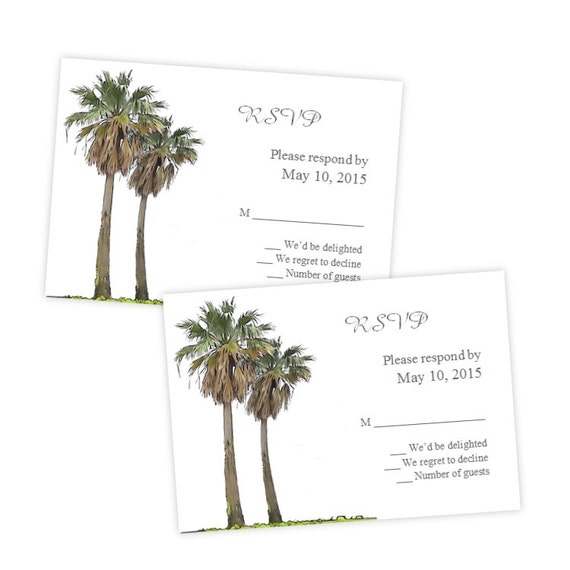 palm card template word - wedding rsvp card template tropical palm trees diy