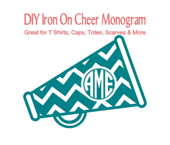 DIY Iron On Cheer Megaphone Monogram Personalized T Shirt
