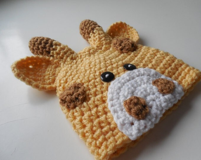 Giraffe Baby Beanie Hat - Light Yellow and Warm Brown - Handmade Crochet - Photo Prop - Made to Order