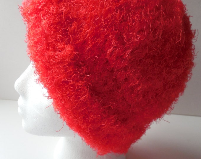 Lipstick Red - Crochet Red Hat - Fun Hat - Handmade Crochet - Ready to Ship