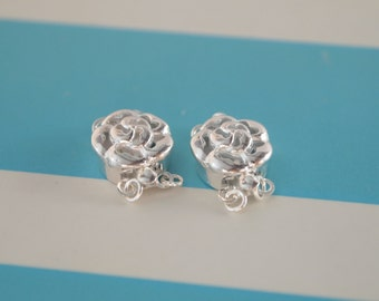 1 Set, Box Clasp, 925 Sterling Silver, Carved Rose, Double-strand, Necklace or Bracelet Clasp, DIY Jewelry Supplies
