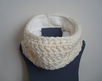 Kids Cowl Scarf, Fleece Lined, Toddler and Child Size, Chunky Crochet Neck Warmer, Cream, Girl or Boy, Custom MADE TO ORDER