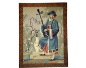 Vintage Paint by Number Asian Theme Man with Musical Instrument Cherry Blossom Mid Century Art Wood Home Decor Frame PBN