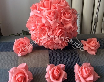 100pcs Coral Wedding Flowers Foam Rose Heads For Kissing Balls Pomander Corsage Flowers