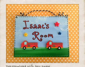 Fire Truck Engine Door Wall Name Sign, Wooden Boys Bedroom or Playroom Plaque - Personalised