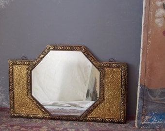 Vintage Octagon Mirror Gold Foil Relief and Wood Wall Hanging