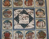 Christmas Winter Village Lap Quilt Christmas Quilted Wall Hanging Christmas Scene Houses Quilt