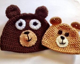 Bear Hat - Crochet Hat - Crochet Beanie - New Born Hat - Child Hat - Crochet Hat - Brown Hat