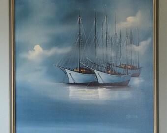 XL Mid Century Sailboat Painting