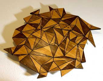 Stained Wood Art Abstract Cutout