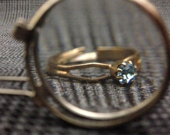 1980's Adjustable Kid Solitaire Birthstone Rings - MARCH