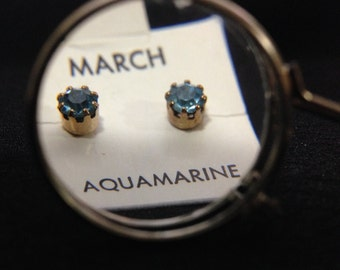Vintage 1960's Birthstone Earrings - MARCH (ABX1D)