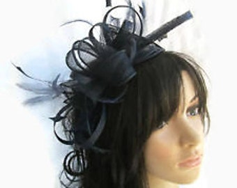Stunning Navy Blue  rosette Sinamay and  Feather Fascinator