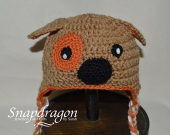 Newborn crochet dog hat with earflaps. Newborn photo props, ready to ship