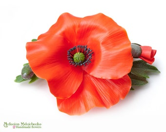 Barrette Poppy - Polymer Clay Flowers