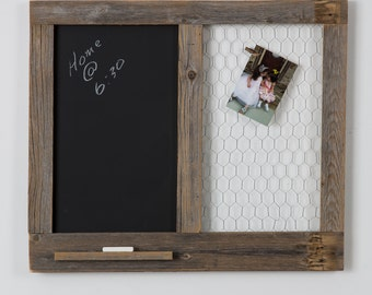Message Center with Chalkboard and Chicken Wire