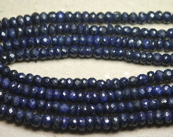 14 Inch Full Strand, AAA Quality, Natural BLUE SAPPHIRE Faceted Rondelles Beads,4-5mm