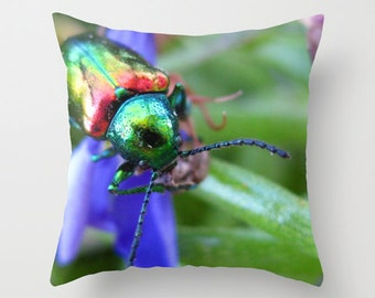 Beetle Pillow, Insect Pillow, Photo Pillow Case, Rainbow Pillowcase, Macro Entomology Pillow, Canvas Throw Pillow, 16X16 Pillow Cover, 18X18
