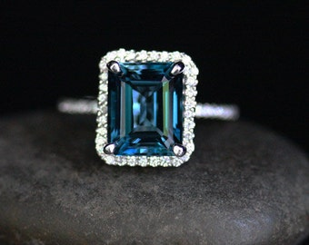 London Blue Topaz Engagement Ring Topaz Halo Ring in 14k White Gold with London Blue Topaz Emerald Cut 10x8mm and Diamond Halo