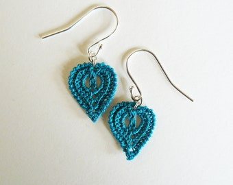 Turquoise Crochet Leaf Earrings