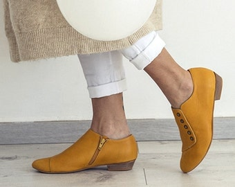 Yellow handmade shoes / Grace Yolk flat leather shoes by Tamar Shalem