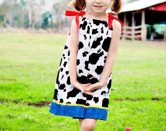 Jessie from toy story inspired pillow case dress cow print