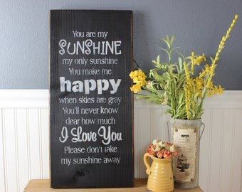 wooden sign, you are my sunshine, subway art, wall hanging, wall decor